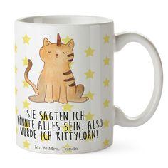 """Tasse Einhorn Katze aus Keramik  Weiß - Das Original von Mr. & Mrs. Panda.  Eine wunderschöne Keramiktasse aus dem Hause Mr. & Mrs. Panda, liebevoll verziert mit handentworfenen Sprüchen, Motiven und Zeichnungen. Unsere Tassen sind immer ein besonders liebevolles und einzigartiges Geschenk. Jede Tasse wird von Mrs. Panda entworfen und in liebevoller Arbeit in unserer Manufaktur in Norddeutschland gefertigt.    Über unser Motiv Einhorn Katze  Ganz nach dem Motto """"Sie sagten, ich könnte alles…"""