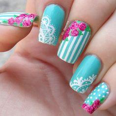 vintage rose + lace nail art - 45+ Lace Nail Designs  <3 <3