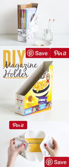 How to Make a Desk Magazine Holder This marbled magazine folder is made from an old cereal box! The finished product looks like a super modern piece and it costs you nothing more than a box of cereal. DIY Populars