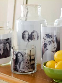 DIY Mother's Day Gift: Glass Container Photo Display. Put basic glass containers to work and show Mom how much you care this Mother's Day. Print your favorite family photos on regular printer paper, cut them to size, and place them in a variety of clear glass vases and containers. Easy, affordable, thoughtful, and timeless - a gift she will be able to love forever. #mothersday
