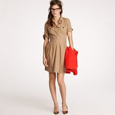 It doesn't look like much on the rack, but it's so cute styled like this. #jcrew #shirtdress $118