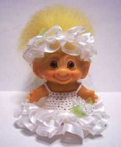 """TROLL DOLL CLOTHES CROCHET DRESS OUTFIT fits 2 1/2"""" or 2 3/4"""" DAM #9"""