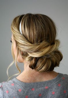 """Loving this """"Wrapped Headband Updo"""" with silver ribbon."""