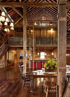 A converted German-style bank barn in Ohio is made into an elegant home  with re-purposed wood floors, exposed beams, and custom-designed iron  railing on the ...