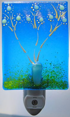 Blossoming Series on Beautiful Blue glass with rainbow iridescent surface Crafts To Do, Arts And Crafts, Cute Night Lights, Night Lite, Stained Glass Night Lights, Glass Fusion Ideas, Art And Craft Shows, Glass Garden Art, Nightlights