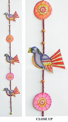 Hand Painted Hanging Birds with Beads - Perforated Leather Crafts from Andhra Pradesh (Leather))