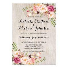 Rustic Floral Wedding Invitation/Watercolor bg-2 Invitation