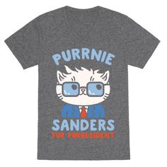 Purrnie Sanders Fur Purresident - Into social justice, socialism, Bernie Sanders and cats? Who wouldn't stand behind Bernie? Especially in cat form! Show the America who your vote is going to for the 2016 election with this funny, Bernie Sanders cat parody shirt!