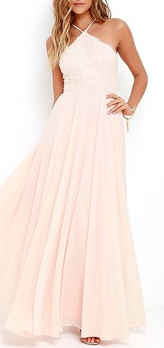 The Everlasting Enchantment Light Peach Maxi Dress will have admirers under your spell! Adjustable spaghetti straps support a lacy halter bodice, then crisscross at back. Layers of chiffon sprouts from a fitted waist, then sweeps down to an elegant maxi length. #lovelulus