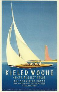 Kieler-Woche-1936-Laboe-Segelschiff-Regatta-Plakat-Poster J Class Yacht, Classic Sailing, Vintage Travel Posters, Nostalgia, Poster Prints, Germany, Advertising, Graphic Design, Inspiration