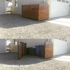 Trash can/air conditioner unit hider cover upper #privacyscreen #metalgate #2x4…