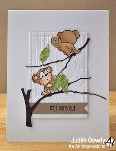 Mini Front & Backs - Owl & Monkey set from Art Impressions. Handmade friendship card.