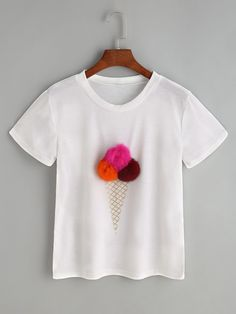 Tee-shirt imprimé de crème glacée blanche avec des pompons -French SheIn(Sheinside)
