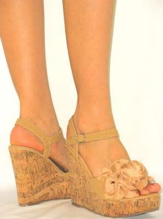 Sexy Sandals pretty Flower Rosecomfy Chunky Heel Platform Cork Wedge Tan 9