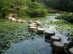 Heian Palace   Stepping stones in the garden of the first Kyoto Imperial Palace ...
