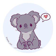 Ideas Cute Art Drawings Animals Kawaii For 2019 Pet Anime, Anime Animals, Arte Do Kawaii, Kawaii Art, Kawaii Chibi, Cute Chibi, Doodles Bonitos, Koala Illustration, Cutest Animals
