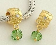 Valentine's Day True Love with Green Stone Dangle 18k Gold on 925 Sterling Silver Charm Beads for Pandora, Biagi, Chamilia, Troll and More Bracelets general gifts. $14.99. 18K gold plated 925 Sterling Silver. Suitable for 3mm Cable Pandora and other European Charm Bracelets. Hole Size: 4.5mm. Quantity: 1pc. Color: Silver with 18K gold