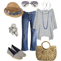 Loose top with fun hemline - YES. Shoes are super cute. Purse is a no. Hat is fun. Jeans are.kinda strange looking in the fit? Summer Outfits, Casual Outfits, Cute Outfits, Summer Fashions, Casual Shoes, Mommy Style, Style Me, Fade Styles, Weekend Style