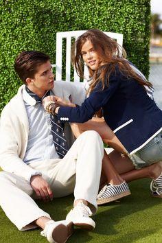 jacket. coat. shorts. shoes. blue/white/denim. hedge/grass/furniture. Hair.
