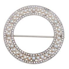 Edwardian Platinum Diamond & Natural Pearl Pin . Circa 1920s