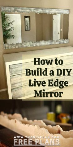 After building a 6 drawer dresser for our bedroom, I wanted the dresser to have a mirror above it. I went searching for different dresser mirror ideas that I could make. After some research, I decided to make a DIY Live Edge Mirror. Here you will find the cut lists, tools list, diagram, dimension and step by step guideline. || Diy projects. Improvement. Wood projects. Pallet ideas. How to wood walling. Wood sign projects. Wood painting ideas. home remodelings. Apartment decorating || Outdoor Projects, Diy Craft Projects, Garden Projects, Project Ideas, Wood Projects, Interior Blogs, Interior Design, Handmade Home Decor, Diy Home Decor