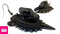 Black wolf skull gothic soutache earrings Czarne kolczyki sutasz czaszki wilka, gotyk