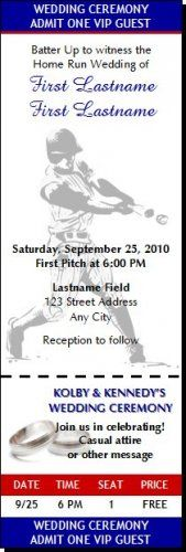 Baseball Wedding 2 Ticket Invitation. OH MAN