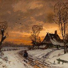 Selmer, Oil Painting, Winter Landscape, Germany, c. 1900