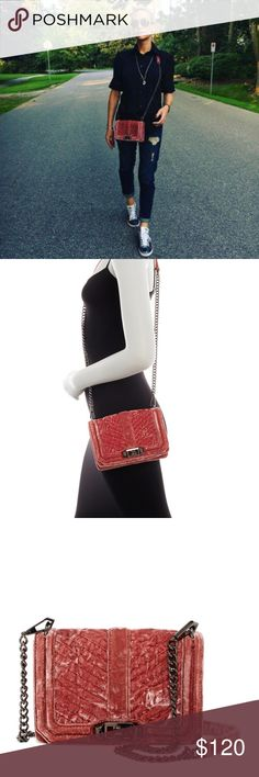"NWT Rebecca Minkoff S Love Velvet Crossbody Bag NWT Rebecca Minkoff Chevron Quilted Small Love Velvet Crossbody Bag /Approx. 5"" H x 8"" W x 2"" D / Approx. 23"" strap drop Rebecca Minkoff Bags"
