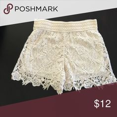 Cream Lace Shorts Cream lace shorts size s/m Shorts