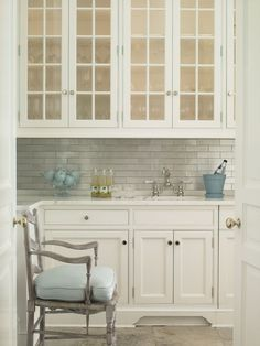 Brooks  Falotico - kitchens - butlers pantry, glass front upper cabinets, glass front kitchen cabinets, shaker cabinets, shaker kitchen cab...