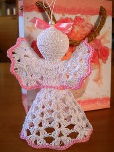 Crochet Angels for All Occasions Baby Shower por MartaCarlin Crochet Christmas Decorations, Crochet Decoration, Crochet Ornaments, Christmas Crochet Patterns, Xmas Decorations, Christmas Crafts, Crochet Angel Pattern, Crochet Angels, Handmade Angels
