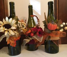 Fall decorated wine bottle with LED mini lights. Message me for custom colors/decorations. Free gift wrapping available.