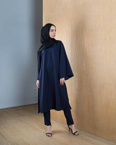 INAYAH | Navy #Kimono #Abaya with Splits + Black Georgette #Hijab - visit  www.inayah.co and shop more of our collection!