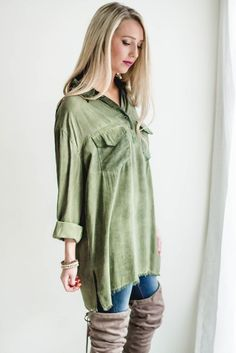 Distressed Olive Button Up-[product_description]-[product_tag]-Stella B. Clothing