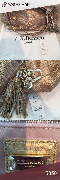 L.K. Bennett gold shoulder bag Python embossed gold leather bag. Made in Italy LK Bennett Bags Shoulder Bags