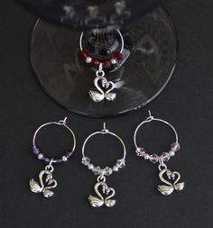 Personalised Wine Glass Charms Heart Weddings Favours Special ...