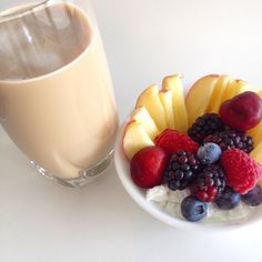 Summer berries & fruit with CoYo coconut yoghurt and an iced coffee. Delicious!  #certifiedpaleo #paleo #breakfast #yogurt #yoghurt #paleocertified #paleofriendly #recipes #breakfast