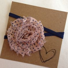 Pink w/ Blue Polka Dots Shabby Flower Headband Pink by HipAndHail, $3.50