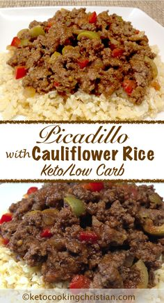 Picadillo with Cauliflower Rice - Keto and Low Carb dinner option for the next time you're having taco night. Amp up the cauliflower rice with a squeeze of lime and cilantro! Ketogenic Recipes, Low Carb Recipes, Diet Recipes, Cooking Recipes, Healthy Recipes, Low Cholesterol Recipes Dinner, Diet Desserts, Keto Foods, Sweets Recipes