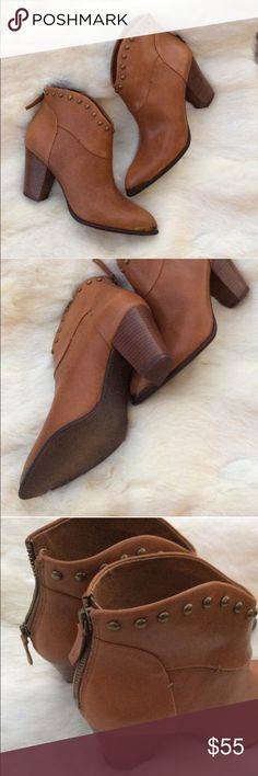 """B. Makowsky Quincy Leather Boots Brand new without tags! B. Makowsky Quincy brown leather ankle boots with a 3.25"""" heel, brass studs and brass toe accents. Zipper back ankle with leather fob. Gorgeous and true to size. Offers welcome! b. makowsky Shoes Ankle Boots & Booties"""