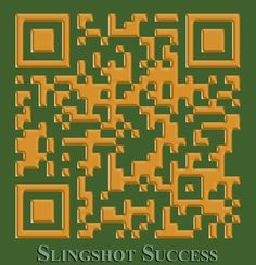 For Slingshot Success, used the gold and green from their logo to brand their QR code.