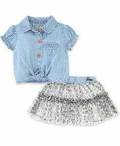 GUESS Baby Girls' 2-Piece Top & Tulle Skirt Set