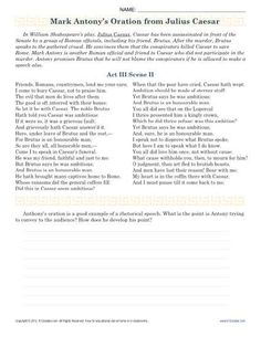 President John F. Kennedy delivered one of the most memorable inaugural speeches in 1961. Your student will read a portion of the speech in this worksheet and analyze some of the language. You'll find it helpful for use with Common Core Standards for Reading Informational Text for 9th and 10th grade. It may also be used for other grades as needed.