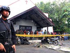Local onde ocorreu o ataque na Indonésia neste domingo (13) (Foto: Stringer/AFP)