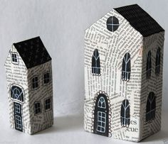 Mixed Media Nesting Houses SET of 2 HANDMADE Abstract Folk Art PRIMITIVE Karla G..made by me..for sale.. #FolkArtAbstractPrimitive