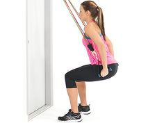 Legs Exercises With Resistance, Exercise Bands are amazing because they build muscle without the wear and tear on your joints. Build quality muscle with bands! Squats With Resistance Band, Resistance Workout, Resistance Band Exercises, Dumbbell Workout, Hammer Curls, Easy Workouts, Build Muscle, Glutes, Exercise Bands