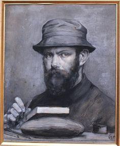 Jules-Léon PERICHON (1866-1946) - Autoportrait - Gouache, lavis gris sur esquisse au crayon noir - 24,5x20cm - Monogramme et daté '96' en bas à droite - Prix: 2000 Euros<br />