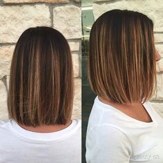 Shoulder length brown hair with highlights