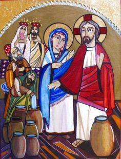 Wedding at Cana Coptic icon by Rania Kuhn